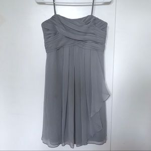 Gray Spaghetti Strap Bridesmaids Dress